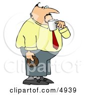 Obese Businessman On His Coffee And Donut Break Clipart