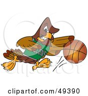 Royalty Free RF Clipart Illustration Of A Falcon Mascot Character Playing Basketball