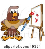 Royalty Free RF Clipart Illustration Of A Falcon Mascot Character Painting