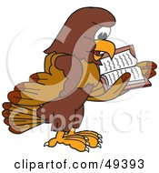 Royalty Free RF Clipart Illustration Of A Falcon Mascot Character Reading by Toons4Biz