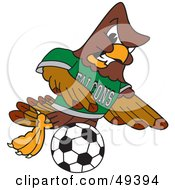 Royalty Free RF Clipart Illustration Of A Falcon Mascot Character Kicking A Soccer Ball