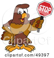 Royalty Free RF Clipart Illustration Of A Falcon Mascot Character Holding A Stop Sign by Toons4Biz