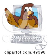 Royalty Free RF Clipart Illustration Of A Falcon Mascot Character In A Computer by Toons4Biz