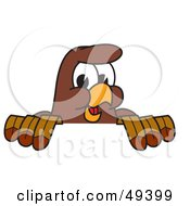 Royalty Free RF Clipart Illustration Of A Falcon Mascot Character Looking Over A Surface