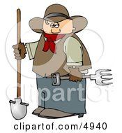 Cowboy Farmer Holding A Pitchfork And Shovel Clipart