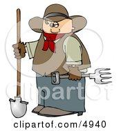 Cowboy Farmer Holding A Pitchfork  Shovel