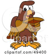 Royalty Free RF Clipart Illustration Of A Falcon Mascot Character Holding A Shark Tooth