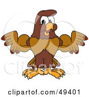 Royalty Free RF Clipart Illustration Of A Falcon Mascot Character Flexing His Big Muscles by Toons4Biz