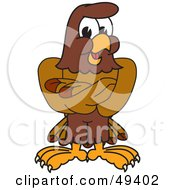 Royalty Free RF Clipart Illustration Of A Falcon Mascot Character With His Arms Crossed by Toons4Biz