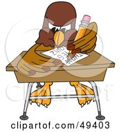 Royalty Free RF Clipart Illustration Of A Falcon Mascot Character Taking A Quiz by Toons4Biz