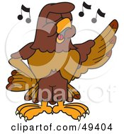 Royalty Free RF Clipart Illustration Of A Falcon Mascot Character Singing