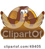 Royalty Free RF Clipart Illustration Of A Falcon Mascot Character Wooden Plaque