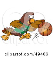 Royalty Free RF Clipart Illustration Of A Falcon Mascot Character Dribbling A Basketball by Toons4Biz
