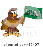 Royalty Free RF Clipart Illustration Of A Falcon Mascot Character Waving A Falcons Flag