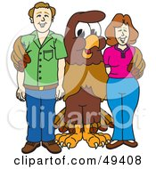 Royalty Free RF Clipart Illustration Of A Falcon Mascot Character With Adults