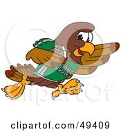 Royalty Free RF Clipart Illustration Of A Falcon Mascot Character Running With A Football by Toons4Biz