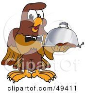 Royalty Free RF Clipart Illustration Of A Falcon Mascot Character Serving A Platter by Toons4Biz