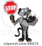 Black Jaguar Mascot Character Holding A Stop Sign