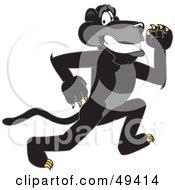 Black Jaguar Mascot Character Running