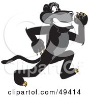 Royalty Free RF Clipart Illustration Of A Black Jaguar Mascot Character Running