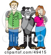 Royalty Free RF Clipart Illustration Of A Black Jaguar Mascot Character With Adults
