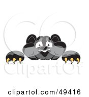 Royalty Free RF Clipart Illustration Of A Black Jaguar Mascot Character Looking Over A Surface