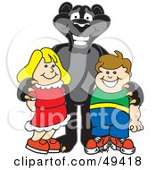 Royalty Free RF Clipart Illustration Of A Black Jaguar Mascot Character With Children