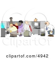 Caucasian And African American Office Employees Doing Their Daily Routine Clipart