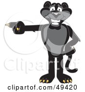 Black Jaguar Mascot Character Pointing Left