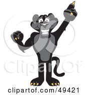 Black Jaguar Mascot Character Pointing Up