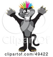 Royalty Free RF Clipart Illustration Of A Black Jaguar Mascot Character Punk With Colorful Hair