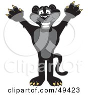 Royalty Free RF Clipart Illustration Of A Black Jaguar Mascot Character Holding His Arms Up