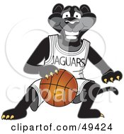 Black Jaguar Mascot Character Dribbling A Basketball