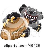 Black Jaguar Mascot Character Grabbing A Football