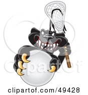 Black Jaguar Mascot Character Playing Lacrosse