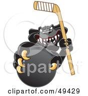 Black Jaguar Mascot Character Grabbing A Hockey Puck