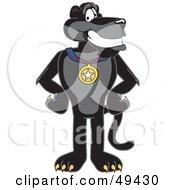 Black Jaguar Mascot Character Wearing A Medal