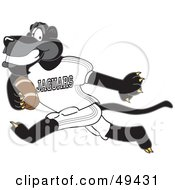 Royalty Free RF Clipart Illustration Of A Black Jaguar Mascot Character Running With A Football by Toons4Biz