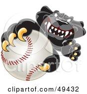 Black Jaguar Mascot Character Grabbing A Baseball
