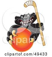 Royalty Free RF Clipart Illustration Of A Black Jaguar Mascot Character Grabbing A Field Hockey Ball by Toons4Biz