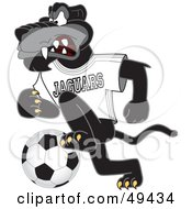 Black Jaguar Mascot Character Kicking A Soccer Ball