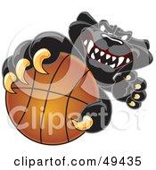 Black Jaguar Mascot Character Grabbing A Basketball