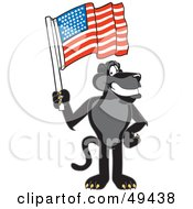 Black Jaguar Mascot Character Waving An American Flag