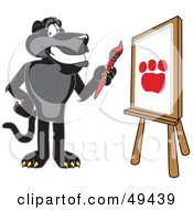 Royalty Free RF Clipart Illustration Of A Black Jaguar Mascot Character Painting