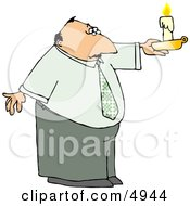 Business Man Holding A Lit Candle During A Power Outage Clipart