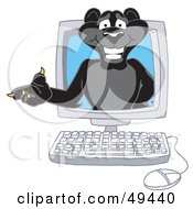 Royalty Free RF Clipart Illustration Of A Black Jaguar Mascot Character In A Computer by Toons4Biz