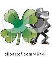 Black Jaguar Mascot Character With A Clover