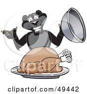 Royalty Free RF Clipart Illustration Of A Black Jaguar Mascot Character Serving A Turkey by Toons4Biz