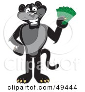 Black Jaguar Mascot Character Holding Cash