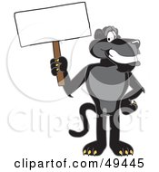 Black Jaguar Mascot Character Holding A Blank Sign